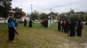 The members of Dagohir Far'Harad prepare for battle