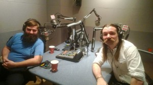 Billy Trim (L) and Jackie Lynn Ellison (R) show off their facial hair in the KUHF studio.